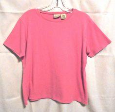 St John's Bay Hot Pink Career  Top Scoop Neck Short Sleeves Size M 100% Cotton #StJohnsBay #KnitTop #Career