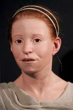 """This is """"Myrtis"""": a reconstruction of a skeleton  found in Athens in the  1990's.  She died at the age of 11 of the infamous plague that struck Athens during the Peloponessian War."""
