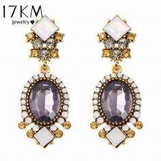 17KM Fashion Geometric Earrings vintage gothic designer wedding crystal Purple Crystal earrings for women Wholesale bijoux