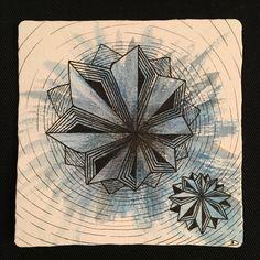 Zentangle white, black, blue galaxy