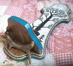 Silhouette Deer Tree upcycled vintage wood shelf by paintallday, $30.00