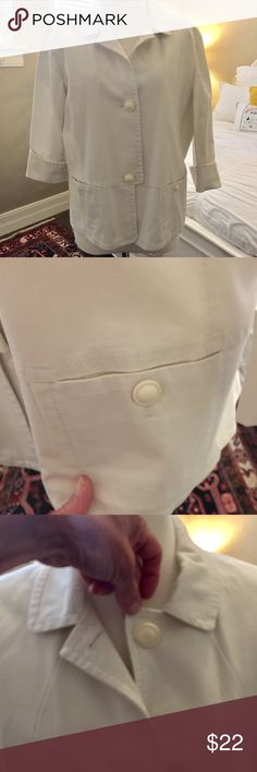 TALBOTS white jacket White Talbots front button cotton jacket, 3/4 length sleeve. Very very cute, and goes with lots of things. I bought in 2 colors. Talbots Jackets & Coats