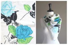 Beautiful Vintage 1950s Silk Scarf w/ Blue by TheMermaidTattoo