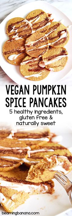 Vegan pumpkin spice pancakes are soft sweet and full of the best fall flavors! Made with just a few simple healthy ingredients naturally sweetened and gluten free. Vegan Pancake Recipes, Delicious Vegan Recipes, Vegan Desserts, Raw Food Recipes, Brunch Recipes, Vegetarian Recipes, Yummy Food, Pumpkin Spice Pancakes, Pancakes And Waffles