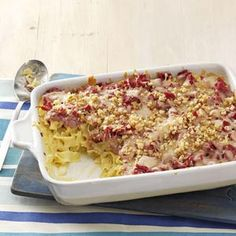 Reuben+Casserole  Never was big saurkraut fan till I met my husband and now I like it...especially in this recipe.  I don't grind up my bread.  I toast it lightly in oven and then dice it up in cubes and throw it on top of the casserole.  ENJOY!
