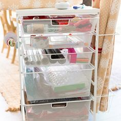 Eliminate extra bins & boxes with this handy cart to organize all your gift wrapping supplies!