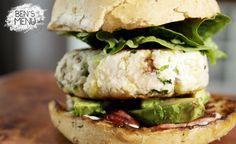 Chicken & avocado burger.  Patty includes shallots, parsley, anchovies, garlic, mustard & lime. Yummy