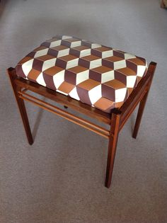 Louis Cube stool upholstered in Leather.