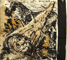 """Anselm Kiefer  Donaueschingen 1945 – lives in France     """"ODIN AND THE WORLD-ASH""""  1981. Oil over woodcut on wove paper on burlap.  170,5 x 190,2 cm (67 ⅛ x 74 ⅞ in.)"""