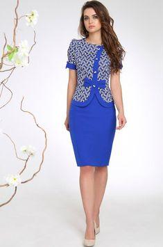 Костюм Sandyna, синие тона (модель 13288) — Белорусский трикотаж в интернет-магазине «Швейная традиция» Gala Dresses, Black Prom Dresses, Modest Dresses, Simple Dresses, Sexy Dresses, Casual Dresses, Dresses For Work, Modest Fashion, Women's Fashion Dresses