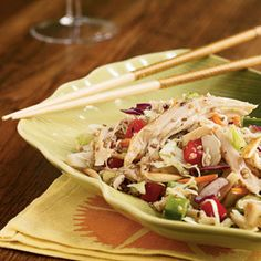 Asian Chicken Slaw recipe: Whether you eat this cool and delicious chicken coleslaw on its own, or loaded into a wrap, it's guaranteed to satisfy an appetite of any size. Asian Chicken Salads, Asian Salads, Cooking Recipes, Healthy Recipes, What's Cooking, Healthy Meals, Yummy Recipes, Healthy Food, Salads