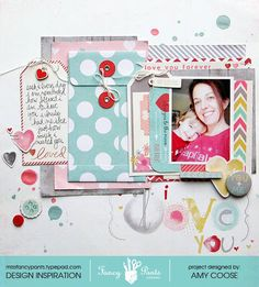 "This ""I Love you!"" layout was created using the Be Loved line from Fancy Pants Designs. - Scrapbook.com"
