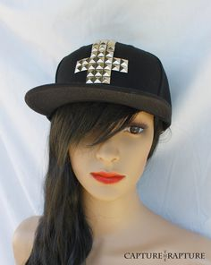 competitive price 18b4a cbb1e Items similar to Studded Cross Black Flat Bill Snapback Cap Hat Unisex on  Etsy