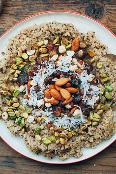 Coconut Breakfast Quinoa With Dates, Pistachios, Almonds, and Coconut