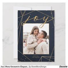Shop Navy and Gold Geometric Elegant Photo Holiday Card created by SweetRainDesign. Personalize it with photos & text or purchase as is! Modern Christmas Cards, Christmas Photos, Holiday Photo Cards, Save The Date Cards, Invitation Cards, Invitations, Navy, Elegant, Gold