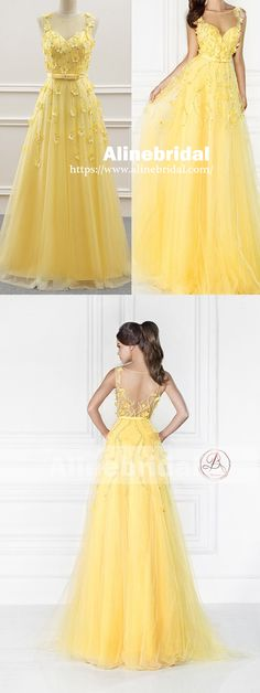 Bright Yellow See Through Tulle Back Handmade Flower Beaded Prom Dresses,PD00083
