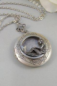 Siren's Call,Locket,Mermaid, Mermaid Locket,Antique Locket,Silver Locket,Goddess,Ocean Locket,Handmade jewelry by valleygirldesigns on Etsy, $32.00: