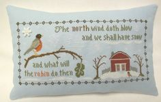 Winter Pillow / Cross Stitched Mini Accent Pillow / North Wind - pinned by pin4etsy.com