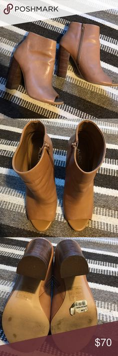 """Taupe peep toe bootie Taupe peep toe bootie. Genuine leather.  Very soft, high quality leather. Inside zipper. Heel measures 3.75"""". Boot opening measures approx 9.75"""" around. Lightweight. Weighs 13 oz. Excellent condition.  Worn a few times, you can still see the price sticker on the bottom. Aldo Shoes Ankle Boots & Booties"""