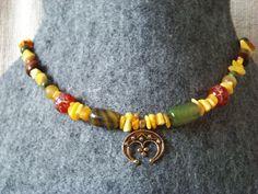 Lunula. Amber, agate, wooden beads, chalcedony and bronze replica of lunula from Daniłowo Małe (Poland), second half of a X century. Slavic necklace. Lunitsa.