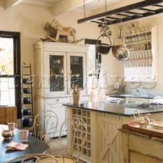 country-- ladder pot rack