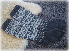 HAH: Kirjoneulesukat Knitting Socks, Knit Socks, Winter Socks, Knee High Socks, Handicraft, Fingerless Gloves, Arm Warmers, Mittens, Knitting Patterns