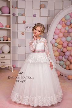 Lace Ivory Flower Girl Dress  Wedding Party by KingdomBoutiqueUA