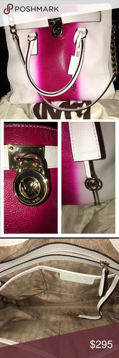 """100% Authentic Michael Kors Hamilton Spray Stripe NWOT! A beautiful and can't take your eyes off it bag! This large bag has a bold saturated spray-painted effect, It has 4 open pockets and 1 zipped, strap is gold chain and leather for shoulder comfort, gold hardware with magnetic closure measurements are 13H X 14W X 6 D the handle drop is 5"""" strap drop is 14.5"""" Michael Kors Bags Shoulder Bags"""