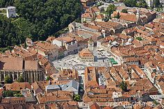 Aerial view of Council Square, Brasov, Romania