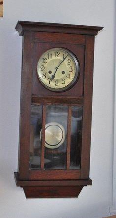 English Arts And Crafts Regulator Wall Clock