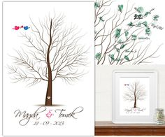 Gästebuch Hochzeit - Printed Wedding Tree +ink pad