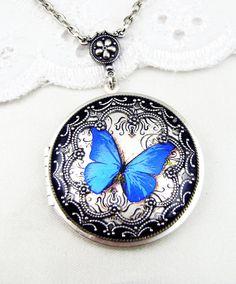 Silver Butterfly Locket. Blue Butterfly by Silverbird1Jewelry