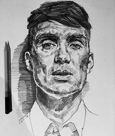 Bit looser than usual, but . Cool Art Drawings, Pencil Art Drawings, Art Drawings Sketches, Peaky Blinders Poster, Arte Sketchbook, Pen Art, Oeuvre D'art, Art Inspo, Art Reference