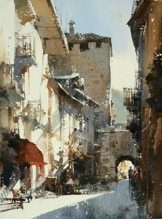 """【The Sunshine of Aosta / 奧斯塔的陽光 x 27 cm watercolor by Chien Chung Wei 簡忠威 """"The years are the most cruel and fair evaluation. Watercolor City, Watercolor Landscape Paintings, Watercolor Sketch, Watercolor Artists, Watercolor Portraits, Abstract Paintings, Watercolor Flowers, Abstract Oil, Oil Paintings"""