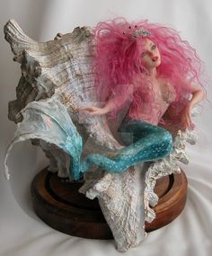 Verona Barrella OOAK Polymer Clay Art Doll Mermaid by veronabarrella on DeviantArt Polymer Clay Mermaid, Polymer Clay Art, Mermaid Fairy, Mermaid Dolls, Fantasy Mermaids, Mermaids And Mermen, Toy Art, Mermaid Home Decor, Mermaid Sculpture
