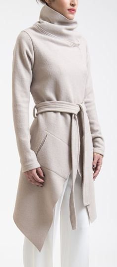 Cowl belted coat