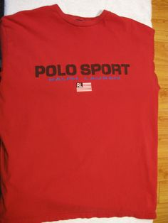 Polo Sport Vintage 1990s Ralph Lauren T Shirt Large Red Made in Canada 90s by CraftyCanadianRetro on Etsy