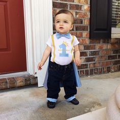 Prince charming Boy first Birthday Onesie & Cuffed Jean Pants, Bow Tie Number Suspender Shirt, on Etsy, $59.95