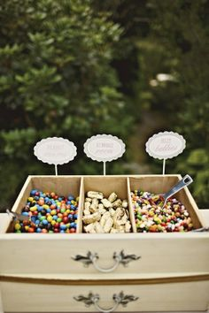 Wedding DIYs and easy wedding ideas - convert a dresser drawer into a lolly buffet