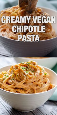 Creamy Vegan Chipotle Pasta, an easy, delicious and healthy Mexican classic. Tak… Creamy Vegan Chipotle Pasta, an easy, delicious and healthy Mexican classic. Takes less than 30 minutes to make - Delicious Vegan Recipes Vegan Mexican Recipes, Vegan Dinner Recipes, Whole Food Recipes, Cooking Recipes, Crockpot Recipes, Family Recipes, Healthy Mexican Food, Vegan Zoodle Recipes, Healthy Vegan Meals