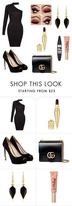 """""""polished"""" by southfashion19 ❤ liked on Polyvore featuring Christian Louboutin, GUESS, Gucci, Isabel Marant, Too Faced Cosmetics, Maybelline, DayToNight, Beauty, NightOut and formal"""
