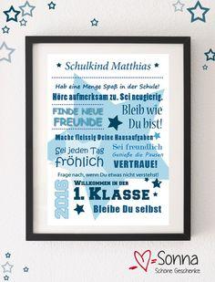 Glückwunschkarten - Schulkind - Beste Wünsche * personal. Grafik A4 - ein Designerstück von Sonna76 bei DaWanda