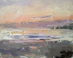 "YAY Cali Series Begins with Seascape ""After Sun Has Gone Down"" - http://rosepleinair.com/california-seascape-paintings/ #painting #pleinair"
