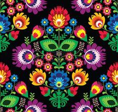 Seamless floral traditionnel polonais sur le noir Banque d'images