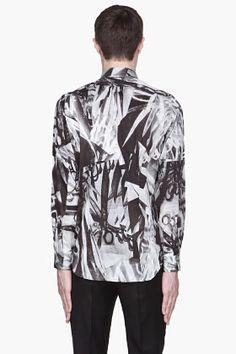 PAUL SMITH  Black and grey scissor print Shirt