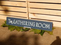 Wooden The Gathering Room Sign, Dark Blue, Handcrafted