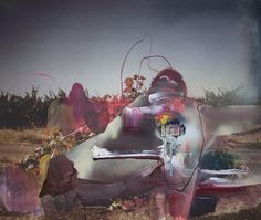 "Joshua Dildine. In Good Company, 2012. Acrylic and spray paint on photograph, 21.5 x 24.5""."