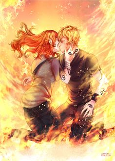 """loweana: """" """"His mouth was hot and dry, his skin burning as she ran her hands up his neck to cup the sides of his face. She tasted fire and char and blood on his mouth and wondered if he tasted the same thing on her. """"Trust me,"""" she whispered against..."""