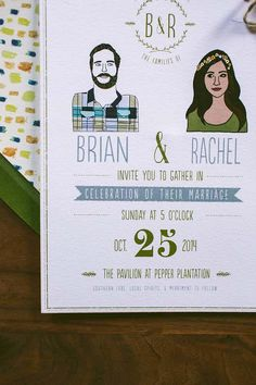 Rustic Wedding Invitation Custom Couple Quirky by WideEyesPaperCo