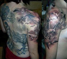 Greatest Tattoos Designs: Animal Half Sleeve Tattoos for Women Quarter Sleeve Tattoos, Half Sleeve Tattoos Designs, Tattoos For Women Half Sleeve, Tattoo Designs For Women, Hipsters, Henna, Bird Tattoo Men, Tattoo Women, Wildlife Tattoo